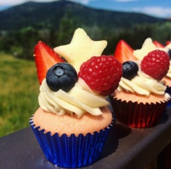 Red, White and Blue Sangria Cupcakes